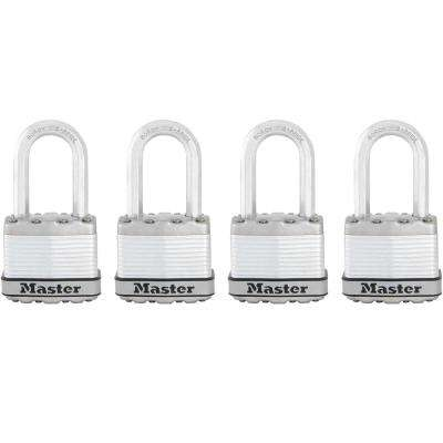 M1XQLF Magnum 1-3/4 in. Wide Laminated Steel Keyed Padlock with 1-1/2 in. Extra Long Shackle (4-Pack)