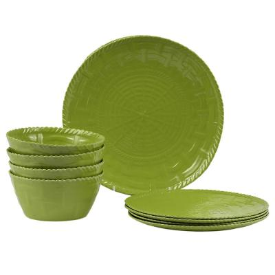 Woven 12-Piece Traditional Sage Green Melamine Outdoor Dinnerware Set (Service for 12)