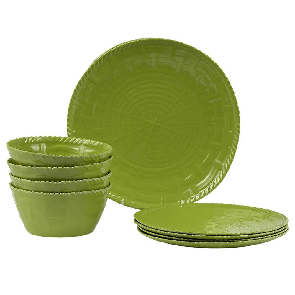 Woven 12-Piece Sage Green Dinnerware Set