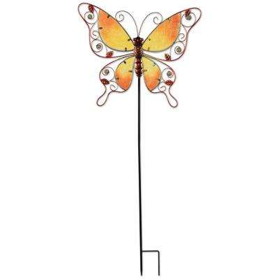 38 in. Orange Butterfly Spring Stake