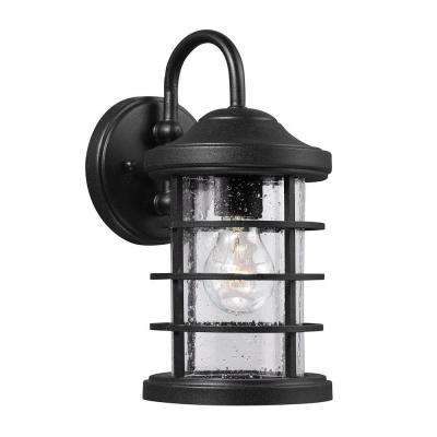 Sauganash 1-Light Small Outdoor Black Wall Lantern with Clear Seeded Glass