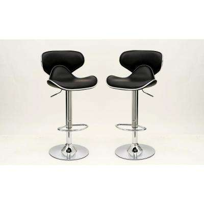 Cly Pablo Black Barstool With Comfortable Seat Back Set Of 2