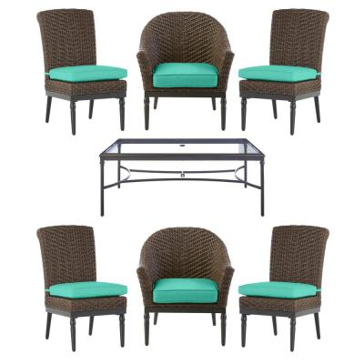 Camden Dark Brown 7-Piece Wicker Outdoor Patio Dining Set with CushionGuard Seaglass Turquoise Cushions