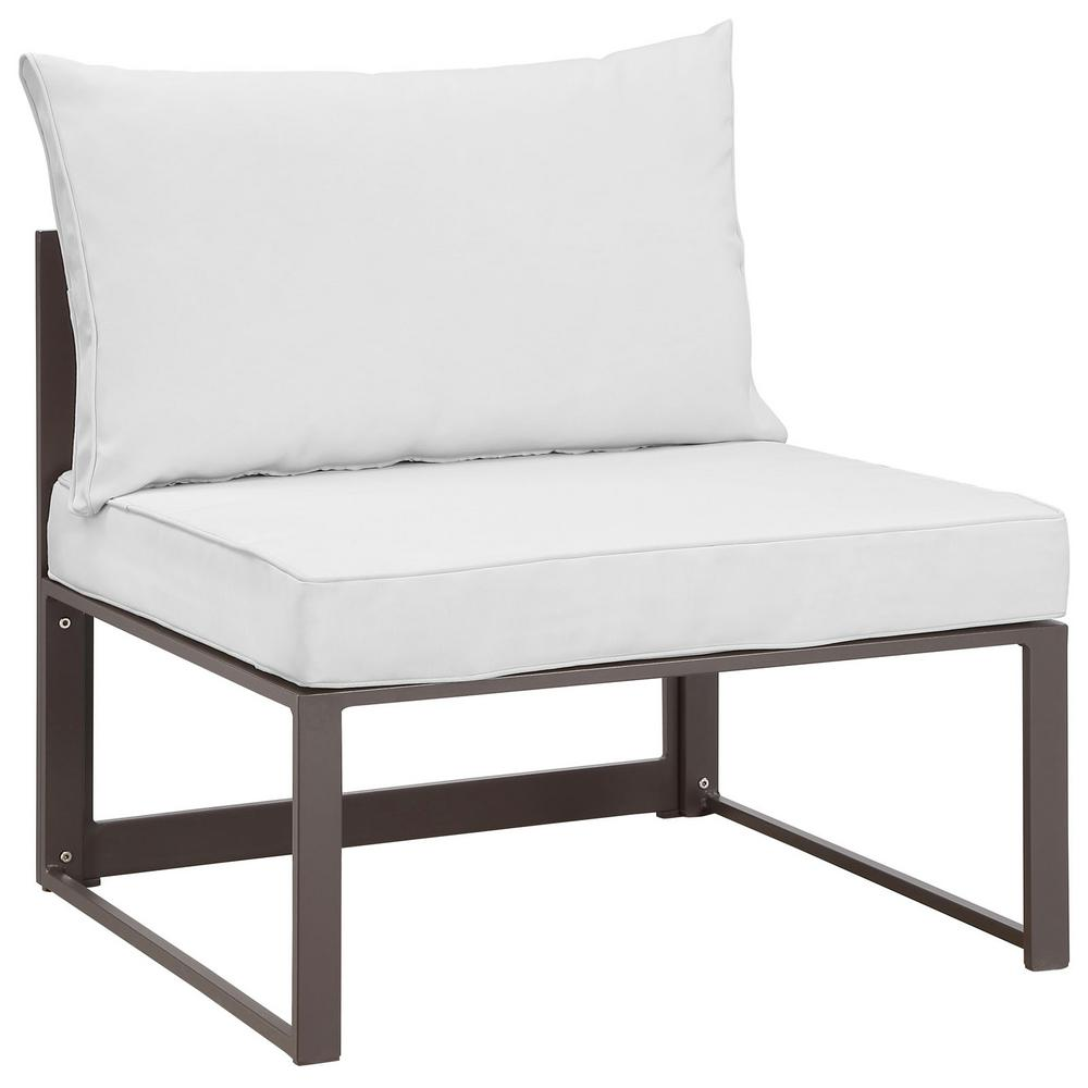 MODWAY Fortuna Patio Aluminum Armless Middle Outdoor Sectional Chair in Brown with White Cushions