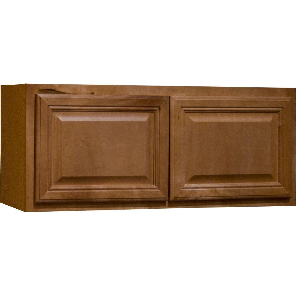 Hampton Bay Cambria Assembled 30x12x12 in. Wall Bridge Kitchen Cabinet in Harvest