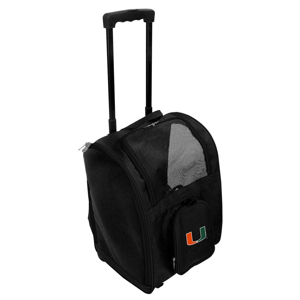 Denco NCAA Miami Hurricanes Pet Carrier Premium Bag with wheels in Black, Team Color