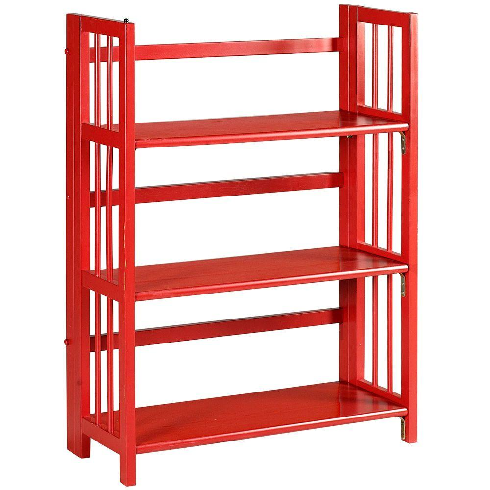 Home Decorators Collection Multimedia Storage 27.5 in. W Folding/Stacking Bookcase in Red
