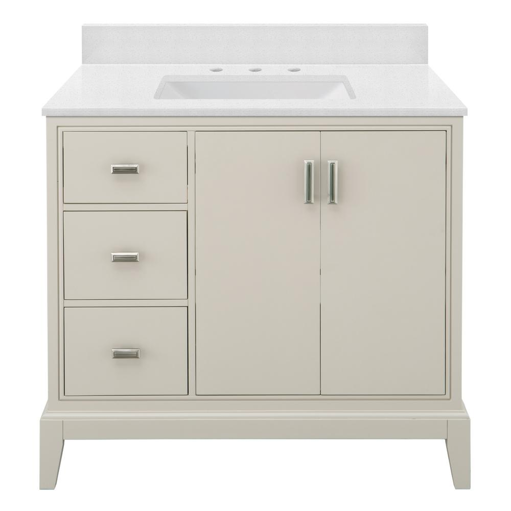 Home Decorators Collection Shaelyn 37 in. W x 22 in. D Bath Vanity in Rainy Day LH with Engineered Marble Vanity Top in Snowstorm with White Sink was $899.0 now $629.3 (30.0% off)