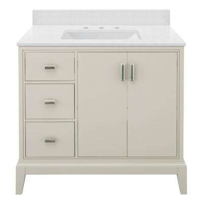 Shaelyn 37 in. W x 22 in. D Bath Vanity in Rainy Day LH with Engineered Marble Vanity Top in Snowstorm with White Sink