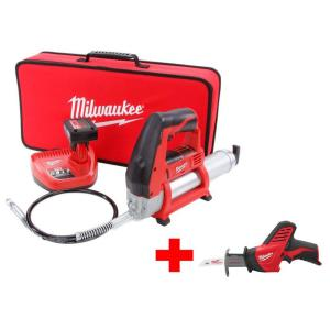 Milwaukee M12 12-Volt Lithium-Ion Cordless Grease Gun XC Kit with Free M12 Hackzall by Milwaukee