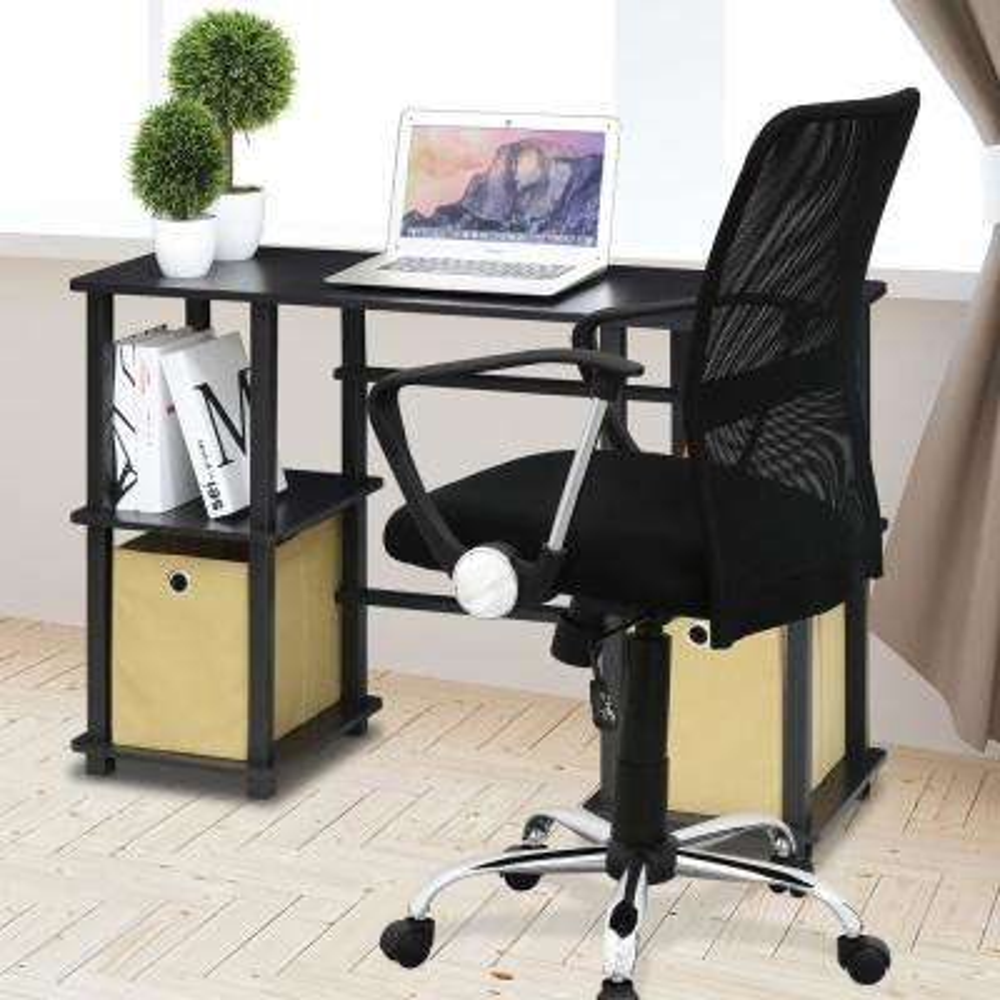 Furinno Turn-N-Tube Espresso/Black Computer Desk with Storage Bins