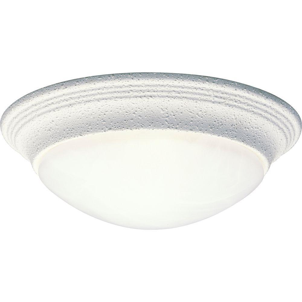 Alabaster Glass Collection 1-Light White Flush Mount