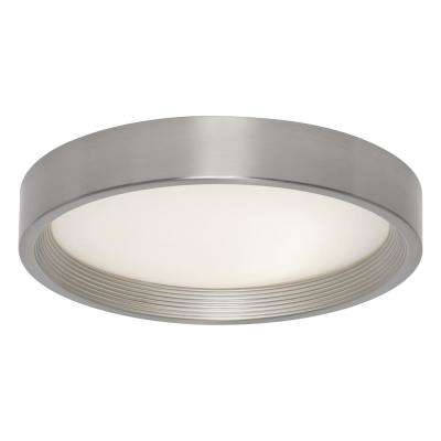 13 in. 16-Watt Brushed Steel Integrated LED Flushmount