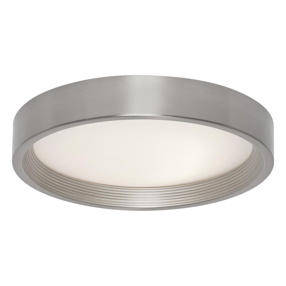 13 in. 16-Watt Brushed Steel Integrated LED Flushmount