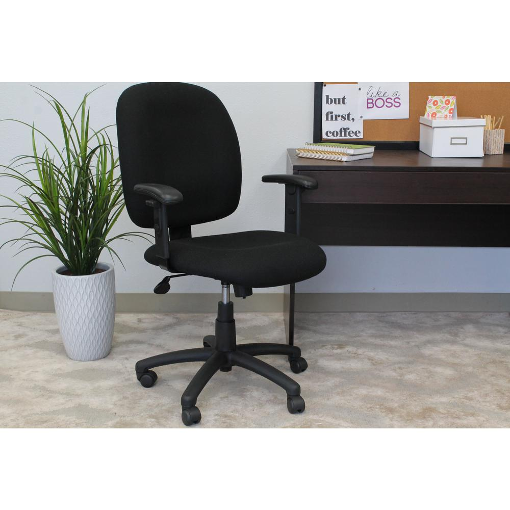 boss black fabric task chair with adjustable arms