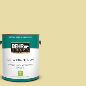 Behr Premium Plus 1 Gal P350 3 Green Charm Semi Gloss Enamel Low Odor Interior Paint And Primer In One 305001 The Home Depot