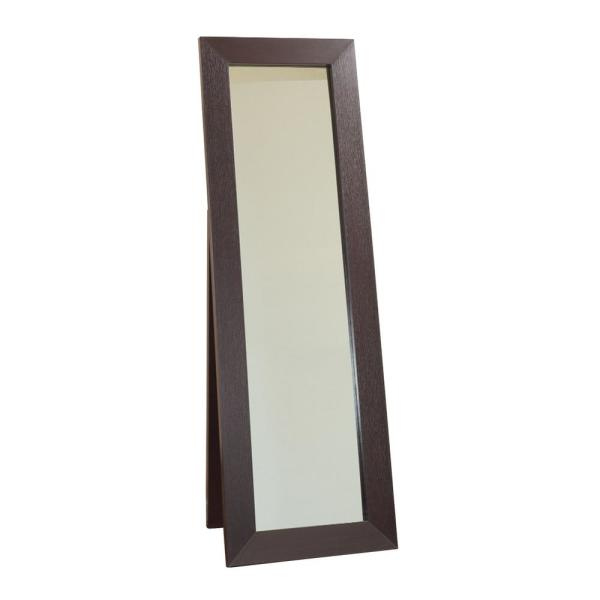 Rectangular Brown Accent Mirror with Wooden Framing