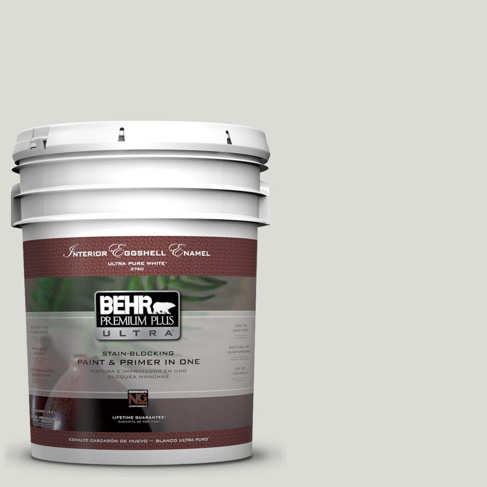 BEHR Premium Plus Ultra 5-gal. #BWC-29 Silver Feather Eggshell Enamel Interior Paint