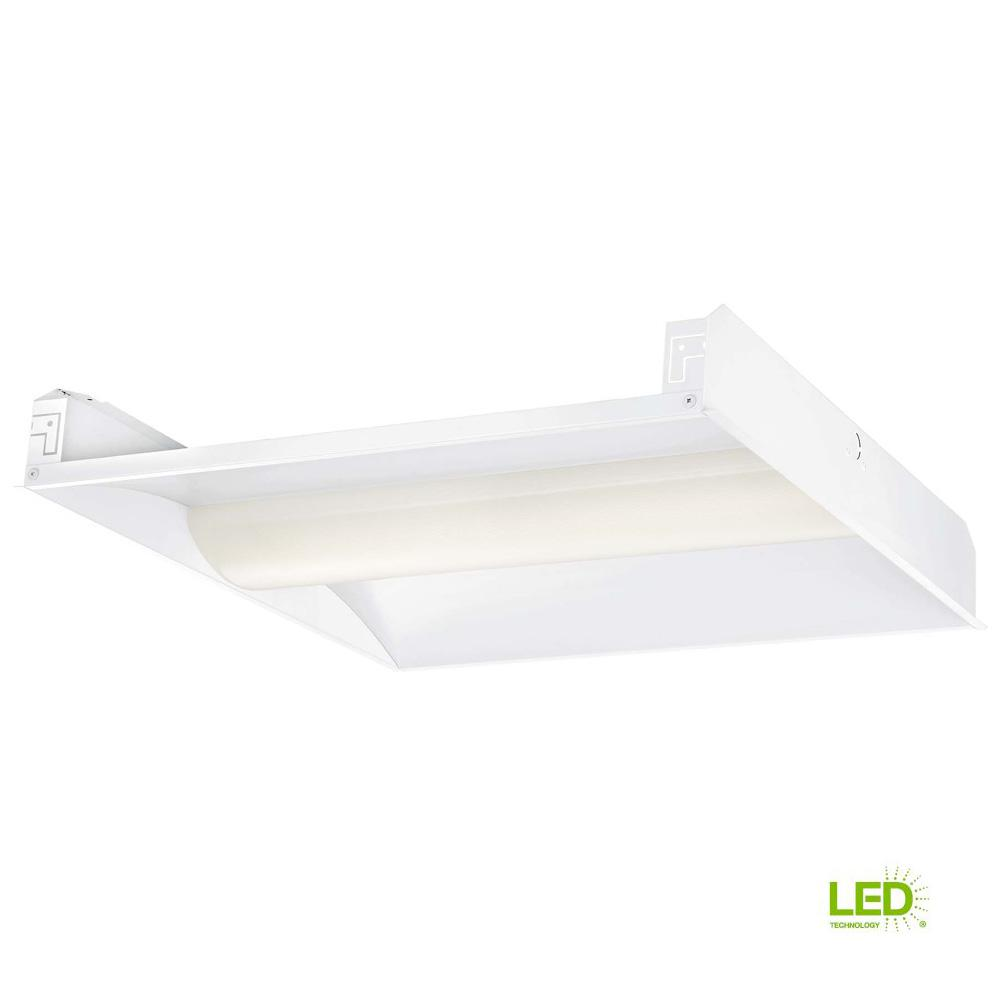 EnviroLite 2 ft. x 2 ft. 128-Watt White Volumetric Integrated LED Commercial Grid Ceiling Troffer