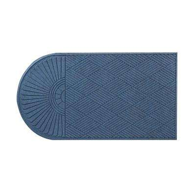 Guzzler Sunburst Slate Blue 34 in. x 72 in. Rubber-Backed Door Mat