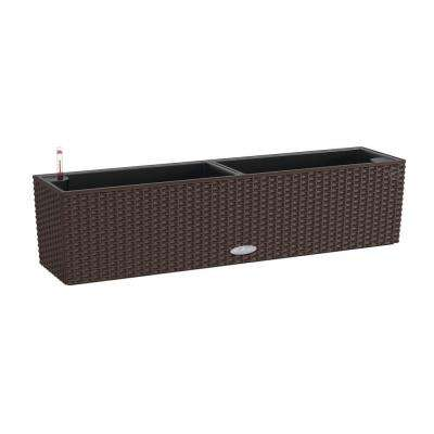 Trend Balconera Cottage 31 in. x 7 in. Rectangle Mocha Balcony Self Watering Plastic Planter