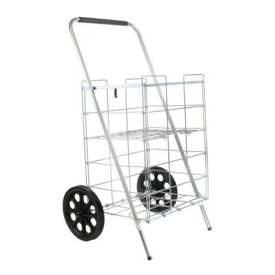 Silver Metal Cleaning Cart with 2-Wheels and Shelf