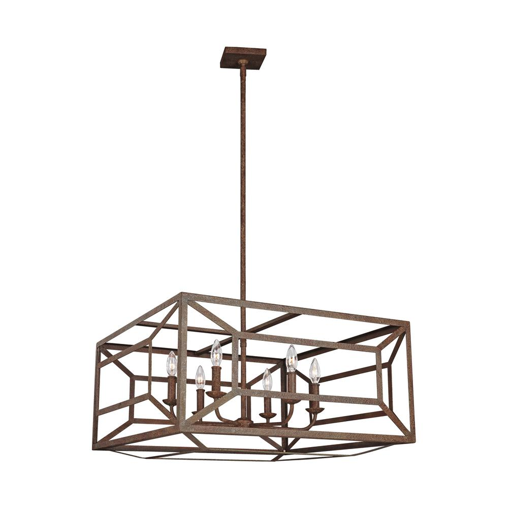 Feiss Marquelle 6-Light Weathered Iron Chandelier
