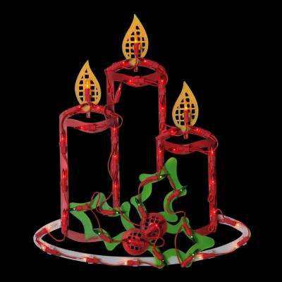 16.5 in. Lighted Candles with Holly and Berry Christmas Window Silhouette