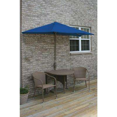 Terrace Mates Adena 5-Piece Coffee Patio Bistro Set with 9 ft. Blue Olefin Half-Umbrella