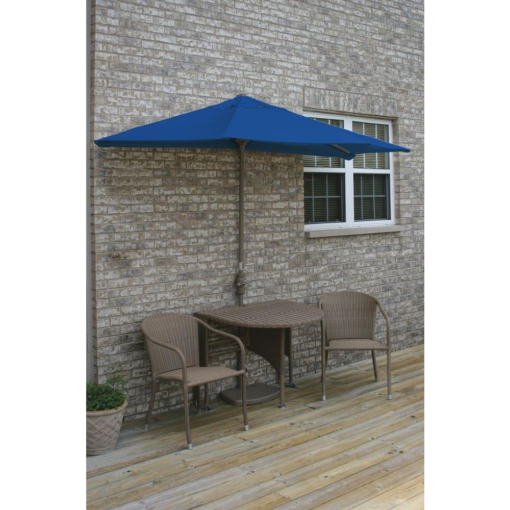 Blue Star Group Terrace Mates Genevieve 5-Piece Coffee Patio Bistro Set with 9 ft. Blue Sunbrella Half-Umbrella
