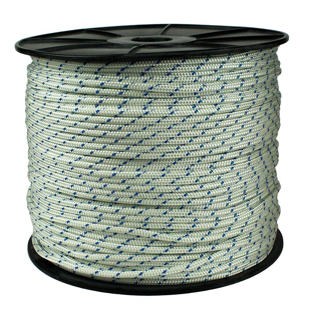 1/4 in. x 1300 ft. Diamond Braid Polypropylene Rope, White/Blue