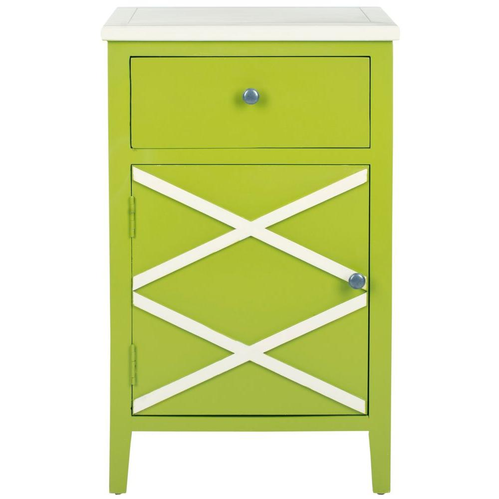 Safavieh Alan Lime Green and White Storage End Table
