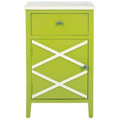 Alan Lime Green And White Storage End Table