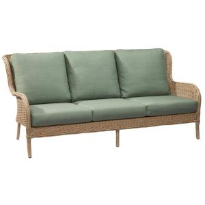 Hampton Bay Lemon Grove Wicker Outdoor Sofa with Surplus Cushion by