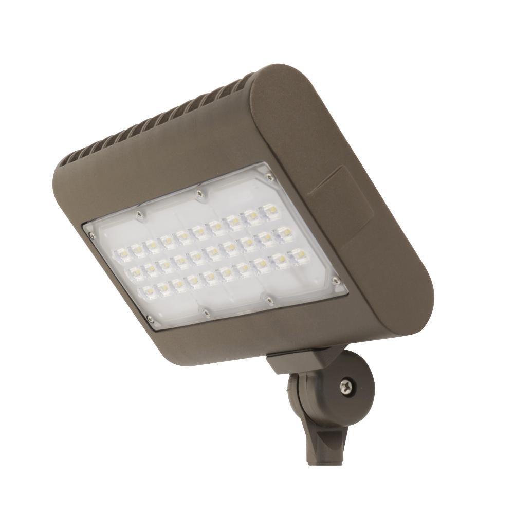 50-Watt Bronze Outdoor Integrated LED Daylight (5000K) Commercial Grade Flood Light