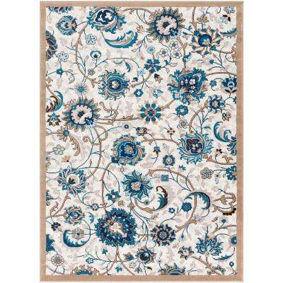 Elias Ivory 5 ft. 3 in. x 7 ft. 3 in. Floral Area Rug