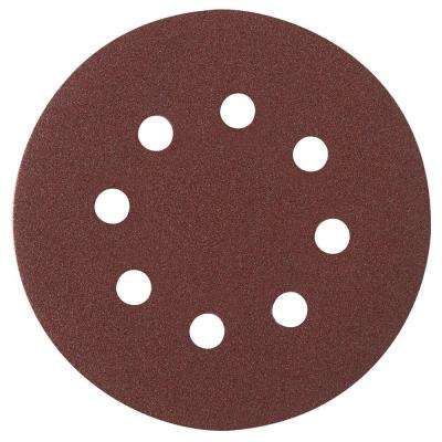 5 in. 8-Hole Red 60/120/240 Assorted Grits Hook and Loop Sanding Disc (6-Pack)
