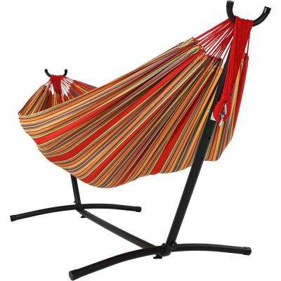 8 ft. Fabric Jumbo 2-Person Brazilian Hammock with Stand in Sunset