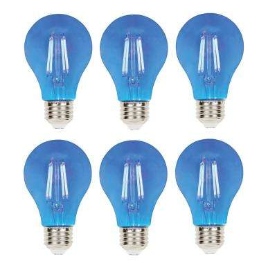 40-Watt Equivalent A19 Dimmable Blue Filament LED Light Bulb (6-Pack)