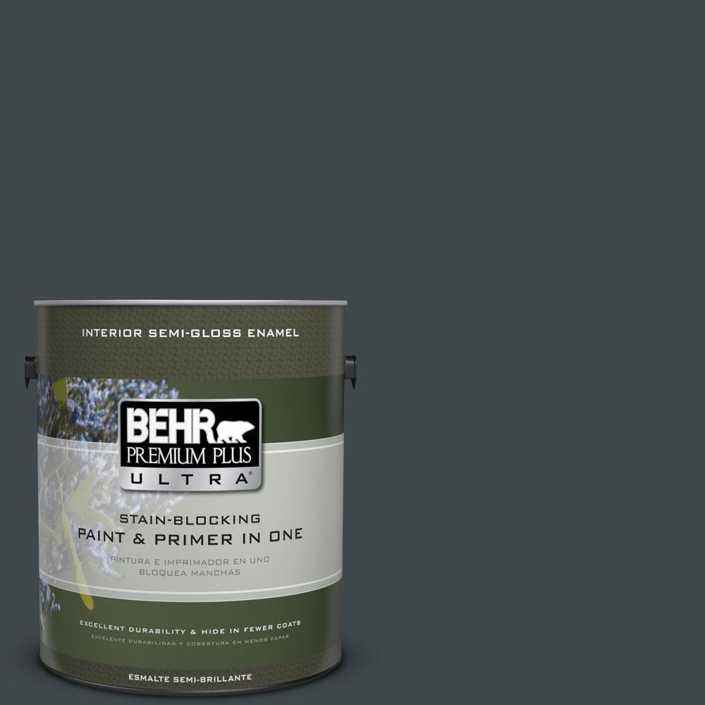 1-gal. #730F-7 Black Sable Semi-Gloss Enamel Interior Paint