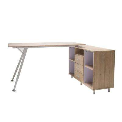 Delta Light Maple Brown Computer Desk with Storage Cabinet