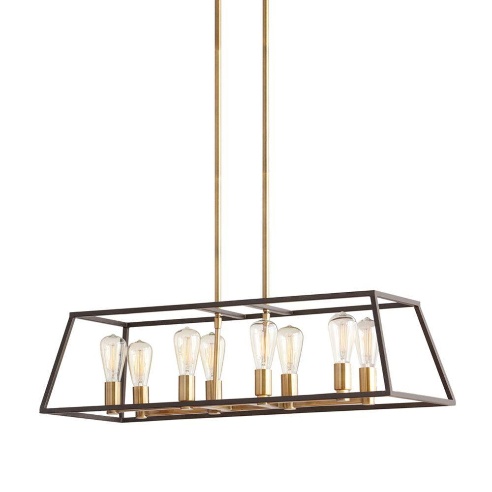 Monteaux Lighting Retro 8 Light Antique Br With Dark Bronze Pendant