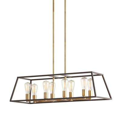 Retro 8-Light Antique Brass with Dark Bronze Pendant