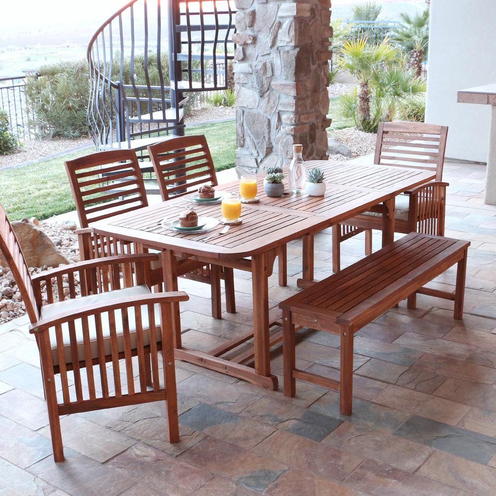 Walker Edison Furniture Company Boardwalk Brown 6 Piece Acacia Wood Outdoor Dining  Set With White