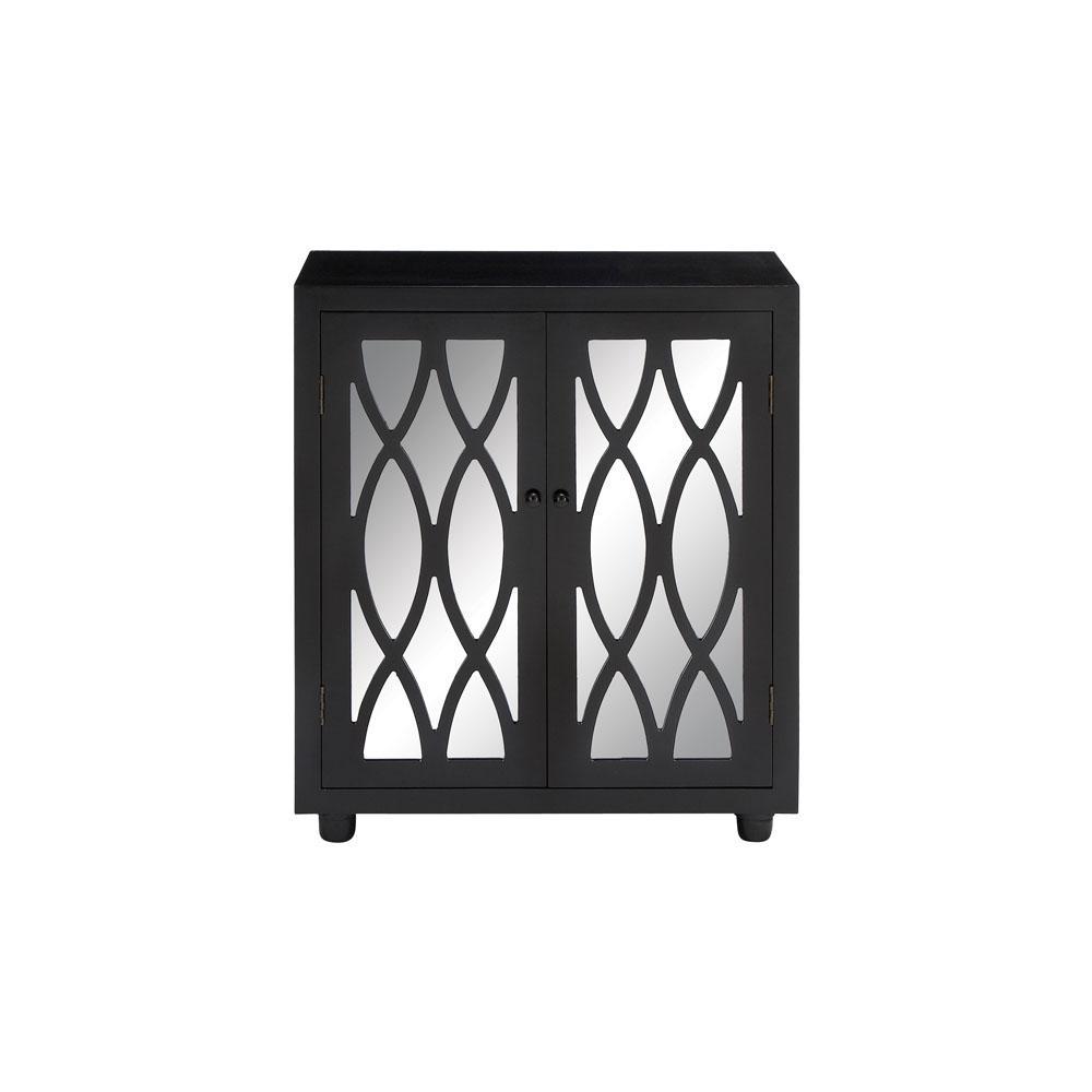 Black Modern Oval-Patterned Wooden Mirror Cabinet