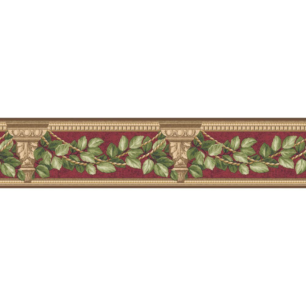 The Wallpaper Company 4.75 in. x 15 ft. Red Architecture and Leaves Border