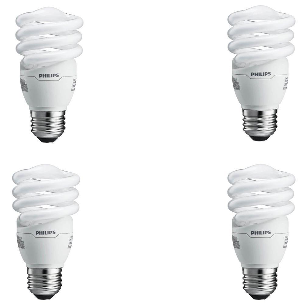 Philips 60-Watt Equivalent Spiral A-Line CFL Light Bulb Soft White (2700K) (4-Pack)