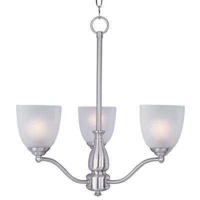 Stefan 3-Light Satin Nickel Chandelier with Frosted Shade