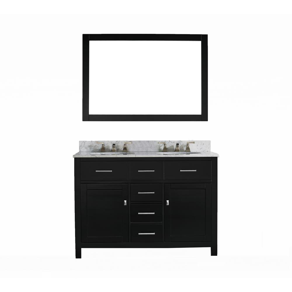 innoci-usa San Clemente 48 in. Vanity in Espresso with Italian Carrara Marble Vanity Top with White Basin and Mirror
