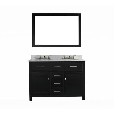 San Clemente 48 in. Vanity in Espresso with Italian Carrara Marble Vanity Top with White Basin and Mirror